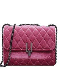 Fashion Pink Velvet Chain Lock Shoulder Crossbody Bag