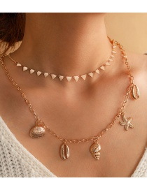 Fashion Golden Triangle Shell Conch Starfish Multilayer Necklace