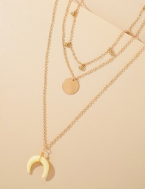 Fashion Golden Resin Pendant Disc Moon Multilayer Necklace
