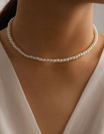 Fashion White Pearl Bead Alloy Necklace