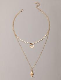 Fashion Golden Alloy Diamond Heart Necklace