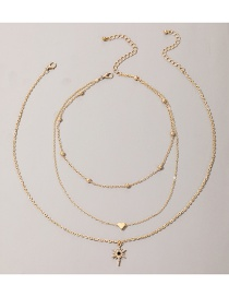 Fashion Golden Moon Star Love Heart Alloy Pendant Multilayer Necklace