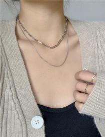 Collar Multicapa De Cadena Fina De Metal