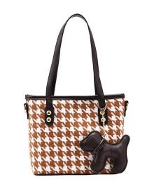 Fashion Brown Chain Houndstooth Shoulder Crossbody Bag