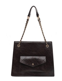 Fashion Brown Chain Stitching Solid Color Crossbody Bag