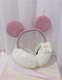 Fashion Pink Lamb Wool Mickey Plush Hit Color Ear Warmers