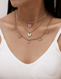 Fashion Golden Cross Chain Resin Butterfly Multilayer Necklace