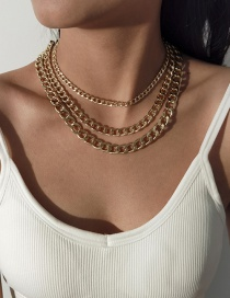 Fashion Golden Thick Chain Multilayer Necklace