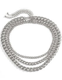 Fashion White K Thick Chain Multilayer Necklace