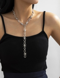 Fashion White K Single Layer Y-shaped Combination Gold Necklace