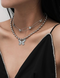 Fashion White K Brooch Bead Chain Butterfly Alloy Multilayer Necklace