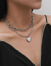 Fashion White K The Same Buckle Chain Love Pendant Alloy Necklace