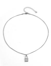 Fashion White K Single Layer Micro Diamond Lock Alloy Necklace
