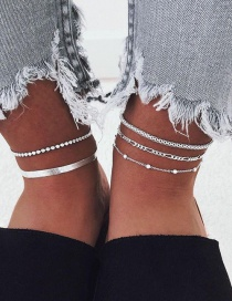 Fashion Silver Metal Chain Bead Chain Alloy Multilayer Anklet