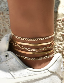 Fashion Golden Metal Chain Bead Chain Alloy Multilayer Anklet