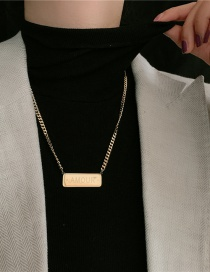 Fashion Golden Stainless Steel Thick Chain Square Brand Letter Necklace