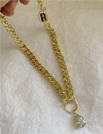 Fashion Golden Big Thick Chain Zircon Crystal Necklace