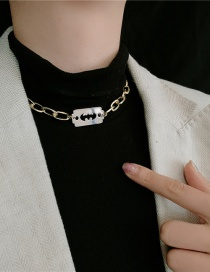 Fashion Gold And Silver Contrast Necklace Metal Blade Chain Two-tone Stitching Necklace Earrings