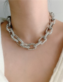 Fashion Silver Diamond Thick Chain Hollow Necklace
