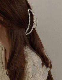 Fashion Crescent Pearl Pearl Rhinestone Geometric Hollow Clamp