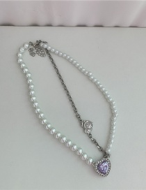 Fashion White Heart Inlaid Gemstone Pearl Beaded Alloy Necklace