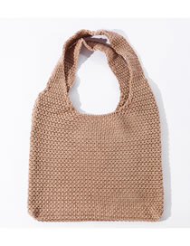 Fashion Khaki Solid Color Knit And Knotted Shoulder Bag