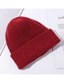 Fashion Red Solid Color Curled Knitted Woolen Hat