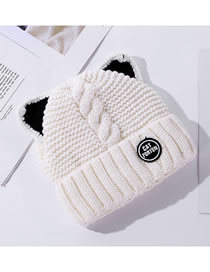 Fashion White Double Layer Plus Velvet Padded Cat Ears Knitted Hat
