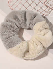 Fashion Imitated Rabbit Hair Color Combination Hair Tie-beige Light Coffee Faux Rabbit Fur Stitching Striped Lamb Hair Large Intestine Hair Rope