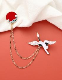 Fashion Color Mixing Oil Drop Crane Chain Alloy Brooch