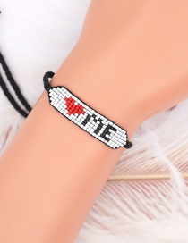 Fashion Color Mixing Rice Bead Woven Love Letter Bracelet