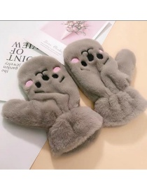 Fashion Cute Pet-gray Animal Flip Fingerless Plush Thick Warm Gloves