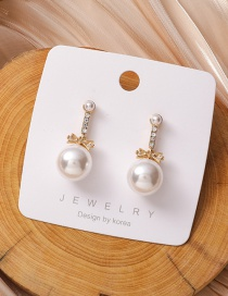 Fashion White Alloy Earrings With Pearl Bow And Diamonds