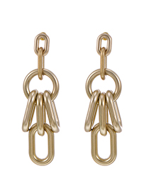 Fashion Gold Color Gray Resin Chain Earrings