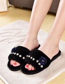 Fashion Black Plush Pearl Flower Flat Slippers