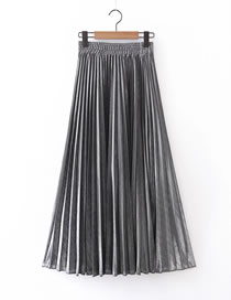 Fashion Silver Pleated Elastic Waist Plus Size Skirt