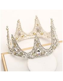 Fashion Silver Diamond-studded Geometric Hollow Full Circle Crown