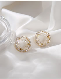 Fashion Round Crystal Woven Round Triangle Alloy Earrings