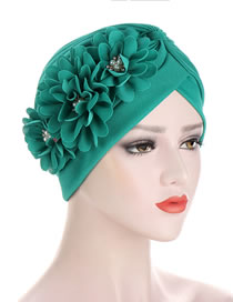 Fashion Green Pleated Applique Pearl Forehead Cross Cap