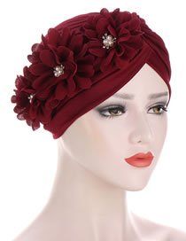 Fashion Red Wine Pleated Applique Pearl Forehead Cross Cap