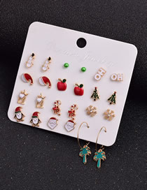 Fashion Color Mixing Christmas Santa Claus Dripping Hat And Christmas Tree Earrings Set