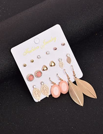Fashion Color Mixing Hollow Leaf Pearl And Diamond Earrings Set