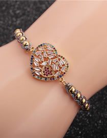 Fashion Copper Bead Color Rope Micro-inlaid Zircon Love Woven Adjustable Bracelet