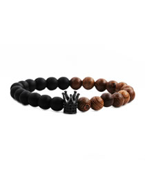 Fashion Frosted Wenge Wood Crown Grab Black Wenge White Pine Frosted Stone Crown Diamond Beaded Bracelet Set