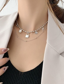Fashion Silver Lock Shaped Pearl Round Bead Chain Alloy Multilayer Necklace