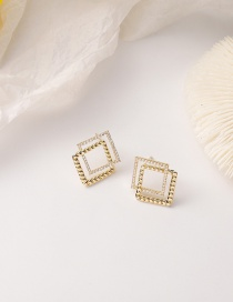 Fashion Square Section Micro-inlaid Zircon Double-layer Square Heart Circle Earrings