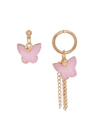 Fashion Pink Resin Butterfly Tassel Natural Stone Alloy Earrings
