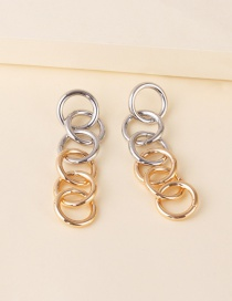 Fashion Color Mixing Alloy Ring Chain Contrast Earrings