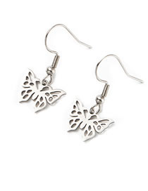 Fashion Just Color Butterfly Titanium Steel Butterfly Fully Polished Cut Earrings