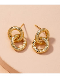 Fashion Golden Twisted Round Alloy Geometric Stud Earrings